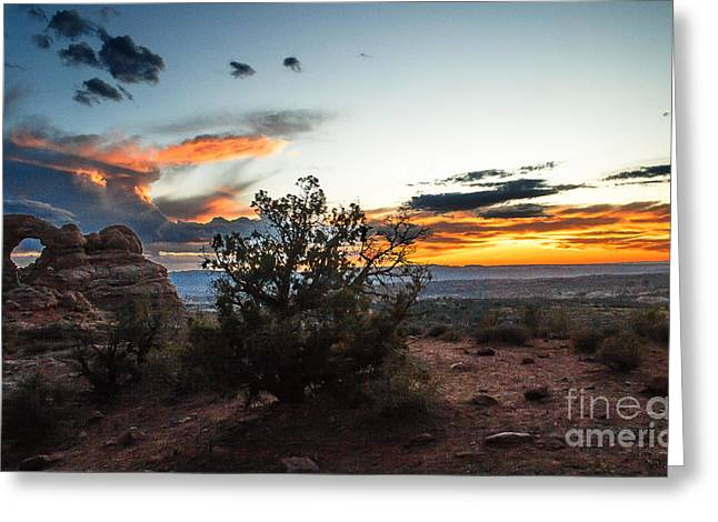 Sunset At Turrent Arch Greeting Card