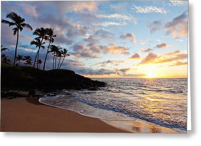 Sunset At Ulua Beach Greeting Card