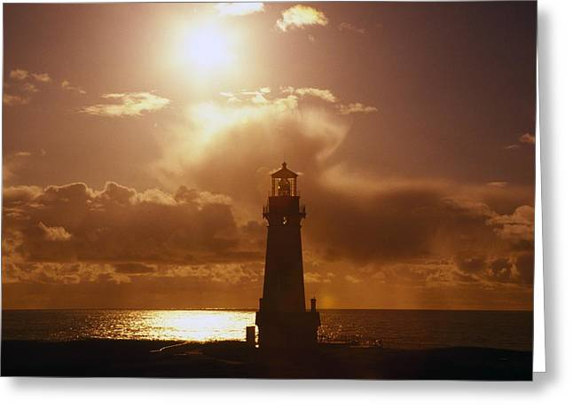 Sunset At Yaquina Head Lighthouse Greeting Card