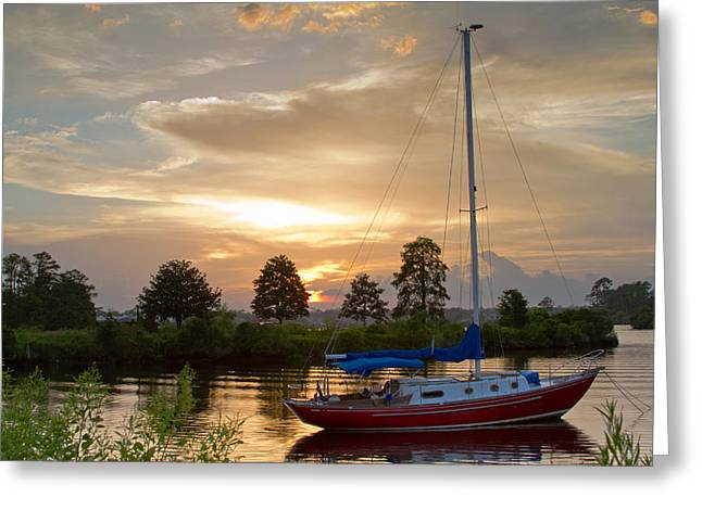 Sunset Bay Greeting Card by Diane Carlisle