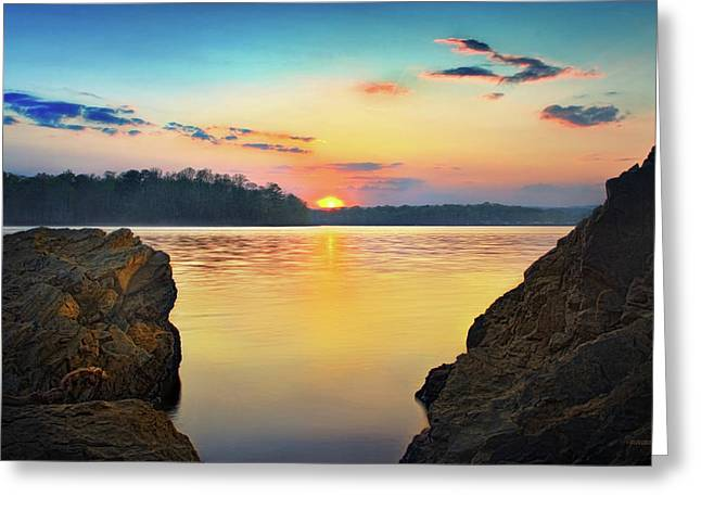 Sunset Between The Rocky Shore Greeting Card