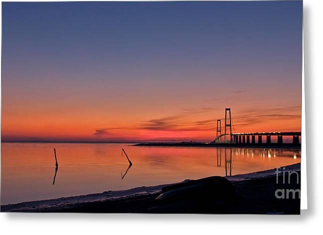 Sunset By Bridge Greeting Card