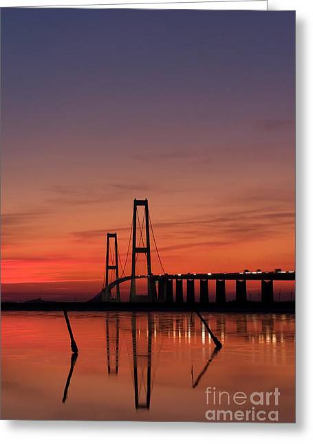 Sunset By The Bridge Greeting Card