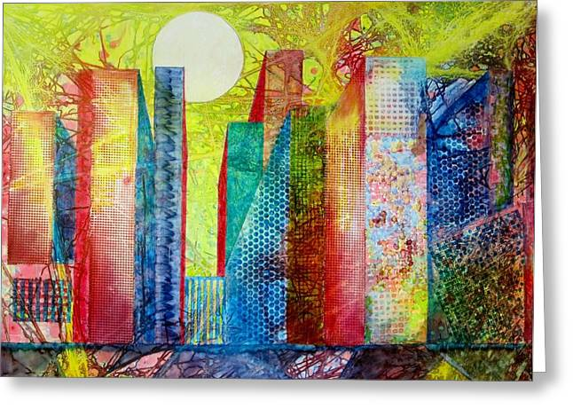 Sunset City Greeting Card by David Raderstorf