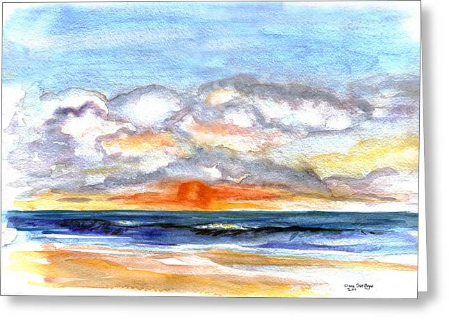 Greeting Card featuring the painting Sunset Clouds by Clara Sue Beym