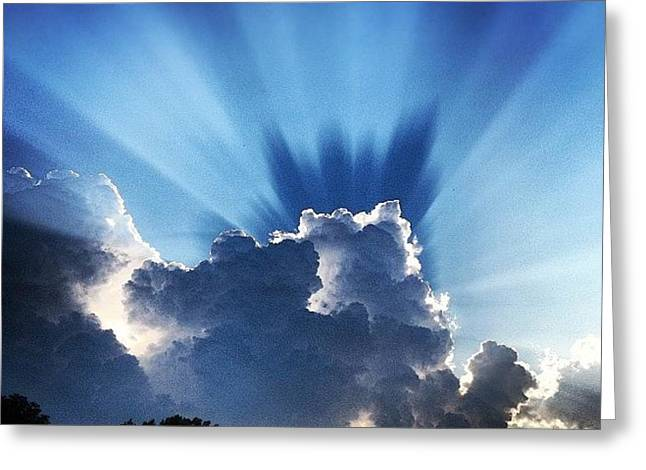 #sunset #clouds #weather #rays #light Greeting Card by Amber Flowers
