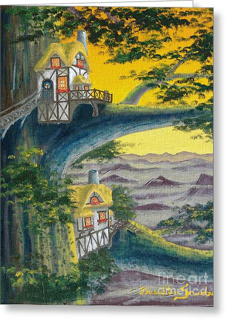 Sunset Cottage From Arboregal Greeting Card
