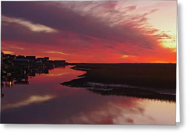 Sunset Creek Greeting Card by Thomas Lovelace