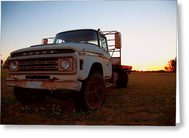 Greeting Card featuring the digital art Sunset Dodge by Serene Maisey