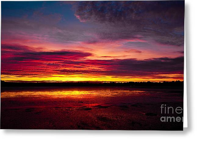 Sunset Fire In The Sky Greeting Card by John Buxton