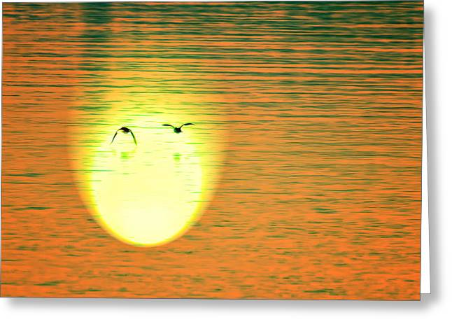 Sunset Flight Greeting Card by Bill Tiepelman