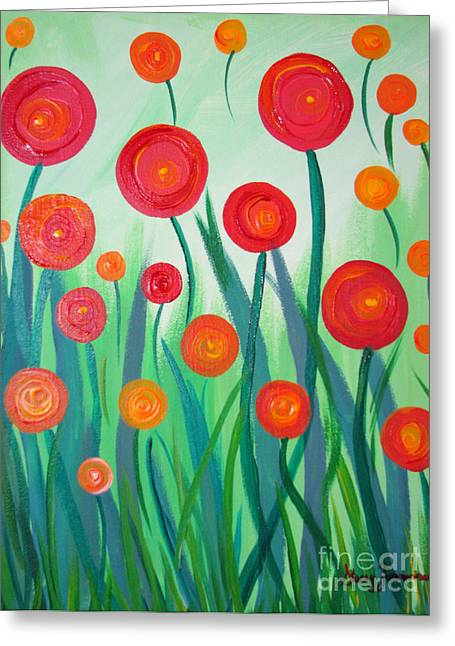 Greeting Card featuring the painting Sunset Flowers by Stacey Zimmerman