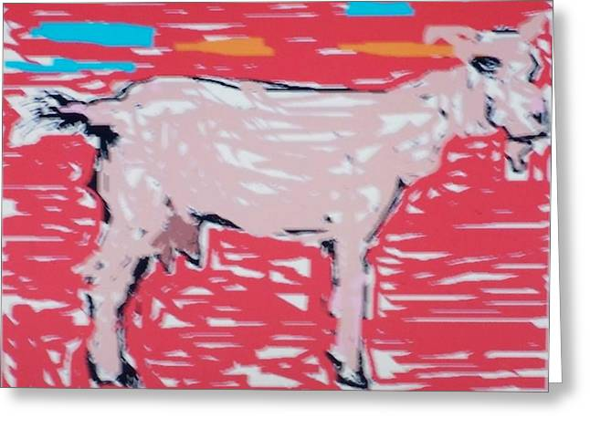 Sunset Goat Greeting Card by Jay Manne-Crusoe