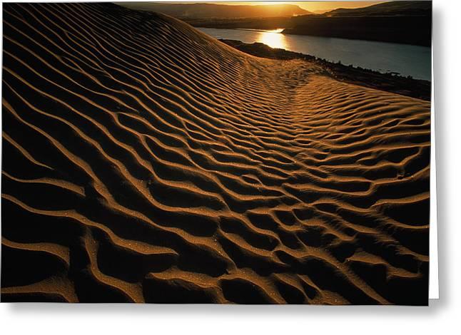 Sunset Illuminates The Sand Dunes East Greeting Card by Jim Richardson