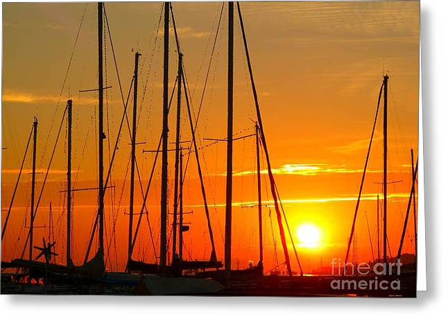 Sunset In A Harbour Digital Photo Painting Greeting Card