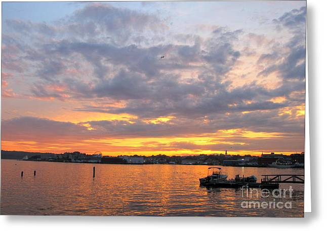 Sunset In Glouchester Greeting Card by B Rossitto
