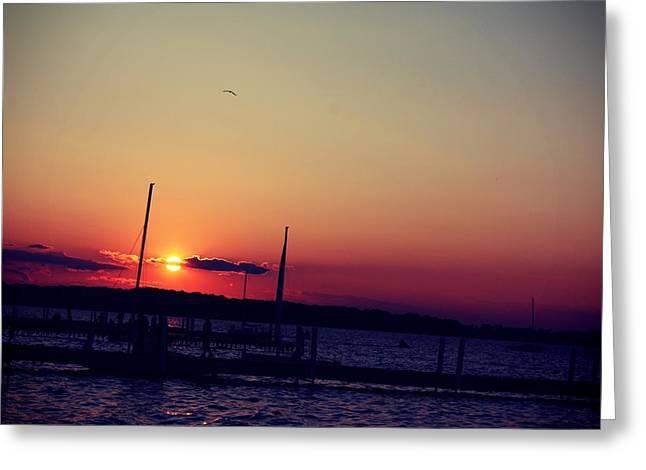 Sunset In Lake Mendota Greeting Card by Xiaoting Kuang