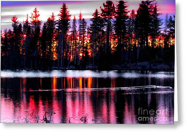 Sunset In Lassen National Park Greeting Card by Irina Hays
