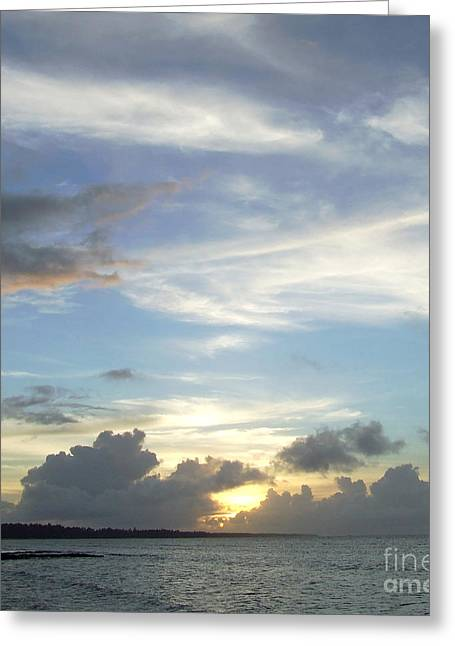Sunset In Majuro Greeting Card by Andrea Anderegg