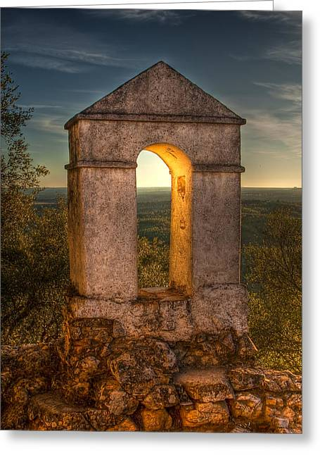 Sunset In Monfrague Castle Greeting Card