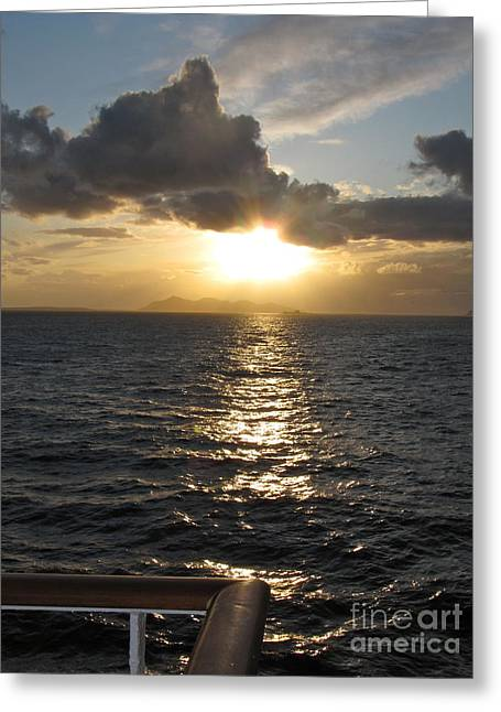 Sunset In The Black Sea Greeting Card by Phyllis Kaltenbach