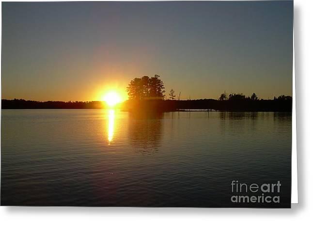Sunset Juggler Lake Island Greeting Card