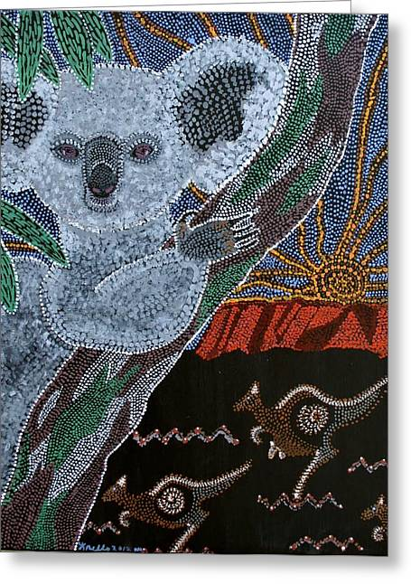 Sunset Koala And Kangaroo Greeting Card