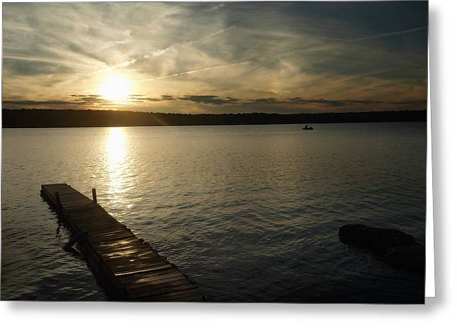 Sunset Lake Greeting Card by Raymond Earley