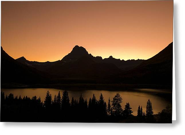 Sunset Swift Current Lake Glacier National Park Greeting Card by Rich Franco