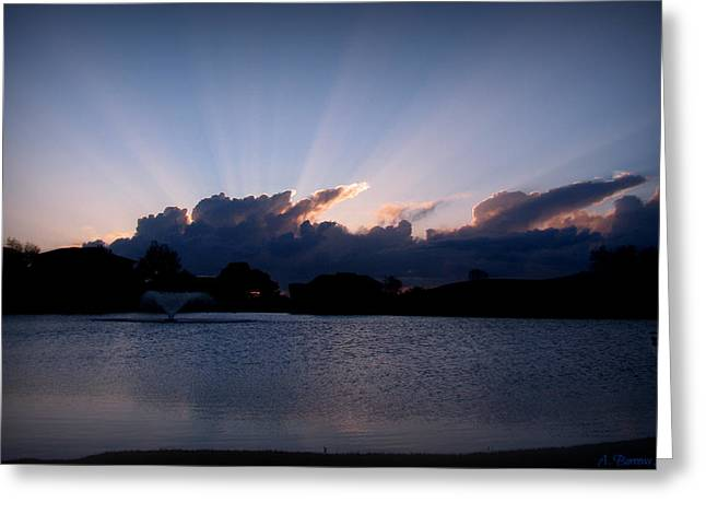 Sunset Light Rays Over The Pond Greeting Card by Aaron Burrows