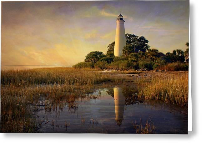 Sunset Lighthouse 3 Greeting Card by Marty Koch