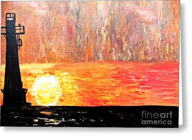 Sunset Lighthouse Greeting Card by Ayasha Loya