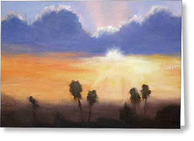 Sunset Greeting Card by Lori Quarton