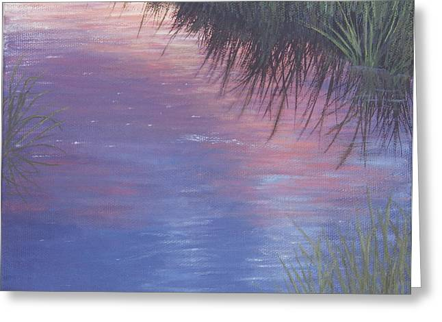 Greeting Card featuring the painting Sunset Marsh by Cindy Lee Longhini