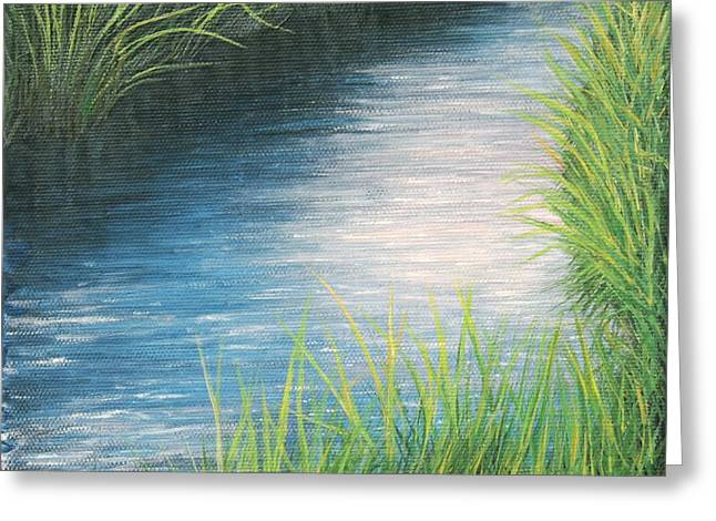 Greeting Card featuring the painting Sunset Marsh Series Afternoon by Cindy Lee Longhini