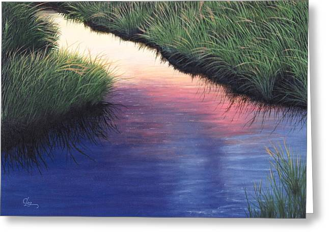Greeting Card featuring the painting Sunset Marsh Series by Cindy Lee Longhini
