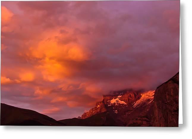 Sunset Murren Switzerland Greeting Card