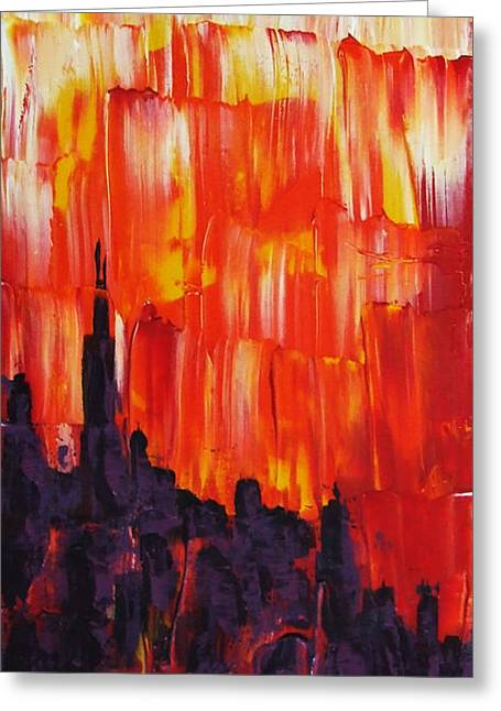 Sunset Of Melting Waterfall Behind Chicago Skyline Or Storm Reflecting Architecture And Buildings Greeting Card