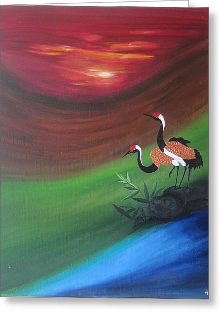 Sunset-oil Painting Greeting Card by Rejeena Niaz