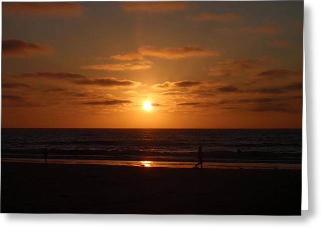Sunset On A Beach In San Diego Ca Greeting Card by Brittany Roth