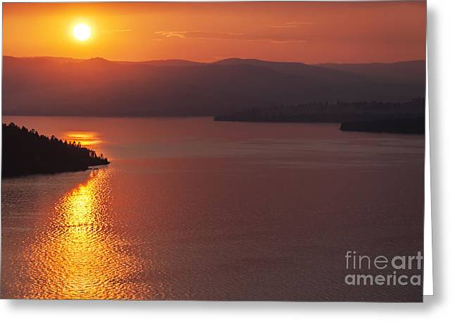 Sunset On Flathead Lake With Wild Horse Island Greeting Card by Scotts Scapes