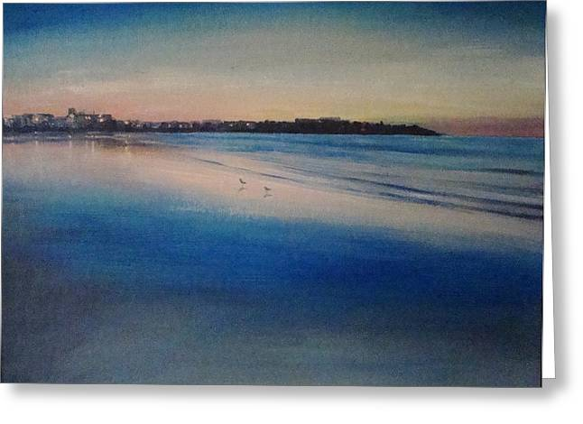 Sunset On Hampton Beach Greeting Card by Mark Haley