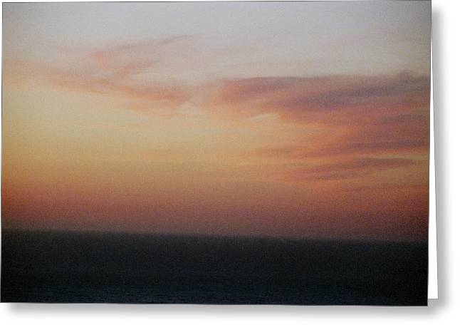Sunset On Horizon Horizontal At Big Sur Greeting Card by Christina Weber