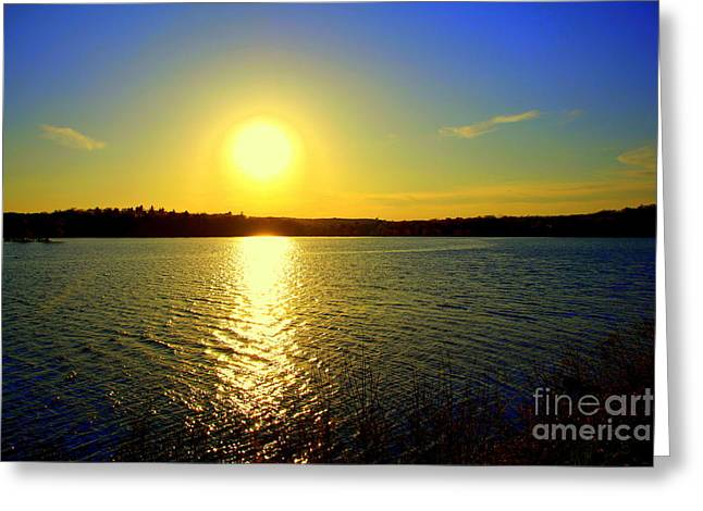 Sunset  On Horn Pond Greeting Card