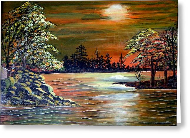 Sunset On Lake Windsor Greeting Card