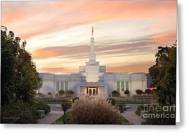 Sunset On Lds Montreal Temple Greeting Card