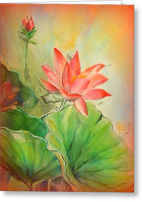 Sunset On Lotus Greeting Card by Wendy Wiese