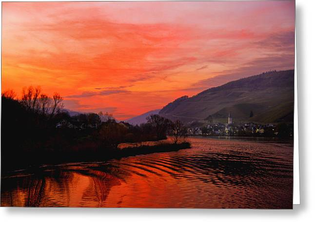 Sunset On Rhine Greeting Card