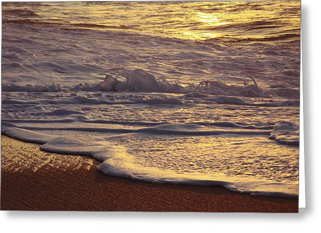 Sunset On Small Wave Greeting Card by Vince Cavataio - Printscapes