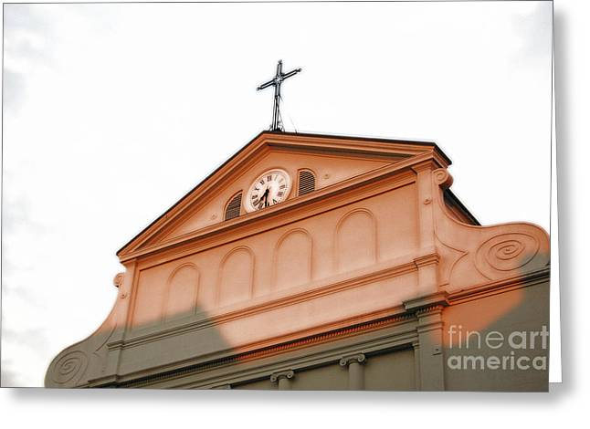 Sunset On St Louis Cathedral In Jackson Square French Quarter New Orleans Diffuse Glow Digital Art Greeting Card by Shawn O'Brien